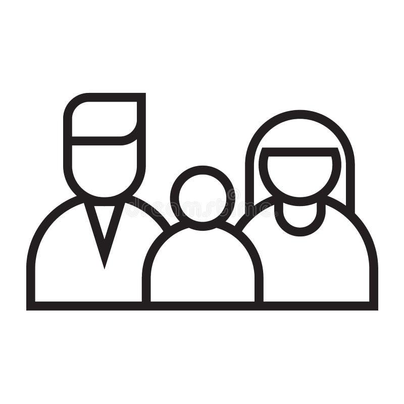 Línea feliz icono del negro de la familia stock de ilustración