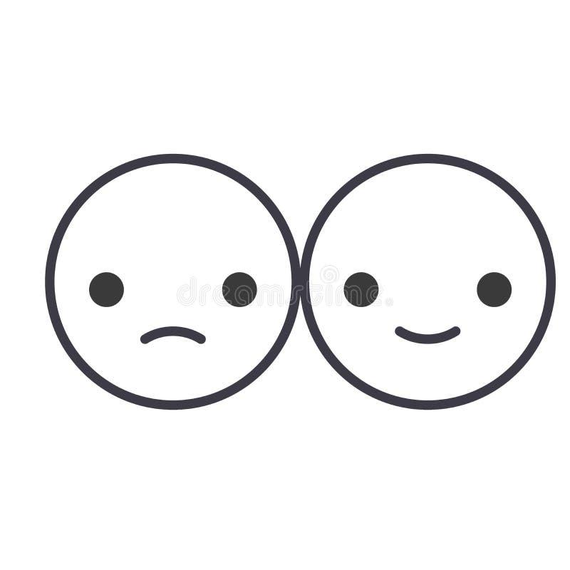 Línea feliz y triste vector editable, icono del concepto de Emoji del concepto Ejemplo linear de la emoción del concepto feliz y  ilustración del vector