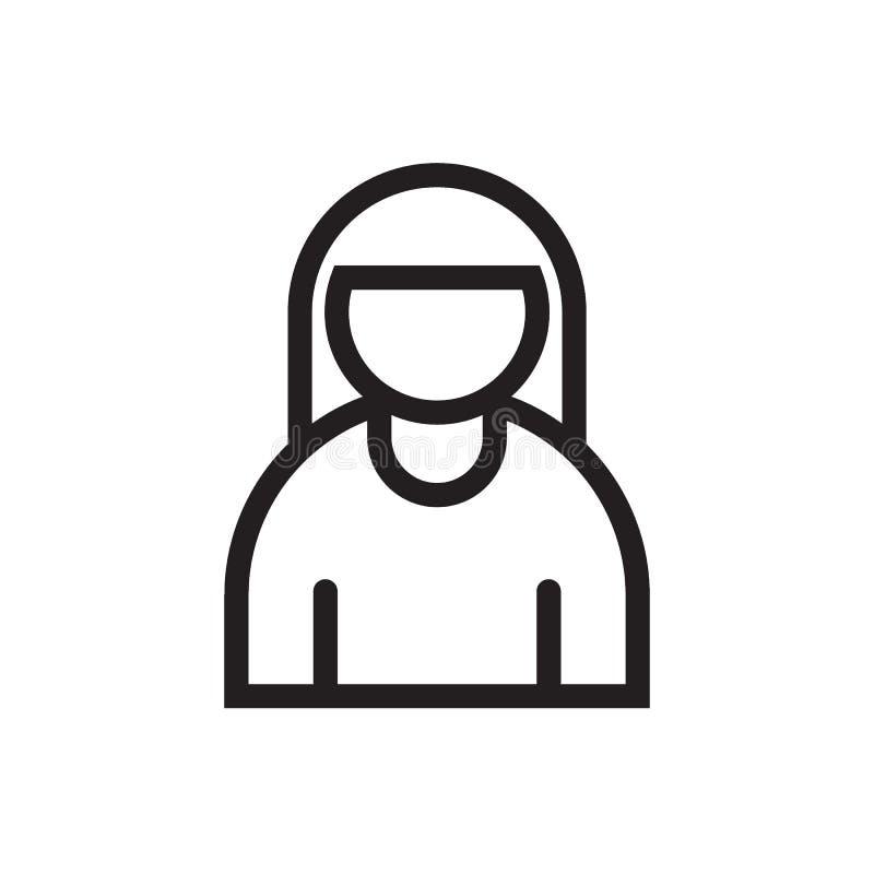Línea femenina icono del perfil de usuario stock de ilustración