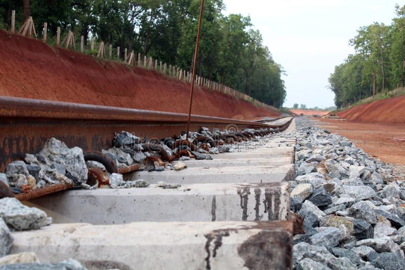 Línea ferroviaria lanzamiento del cierre foto de archivo libre de regalías
