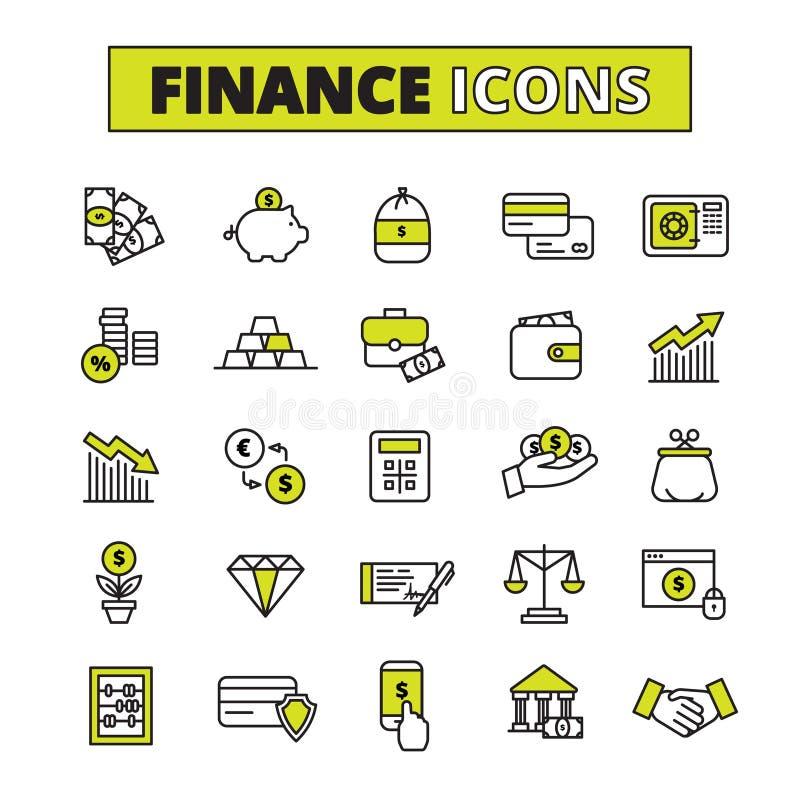 Línea fijada iconos de las finanzas stock de ilustración