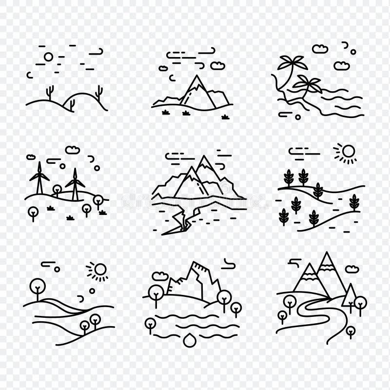 Línea fina única naturaleza de los iconos del vector del eco libre illustration