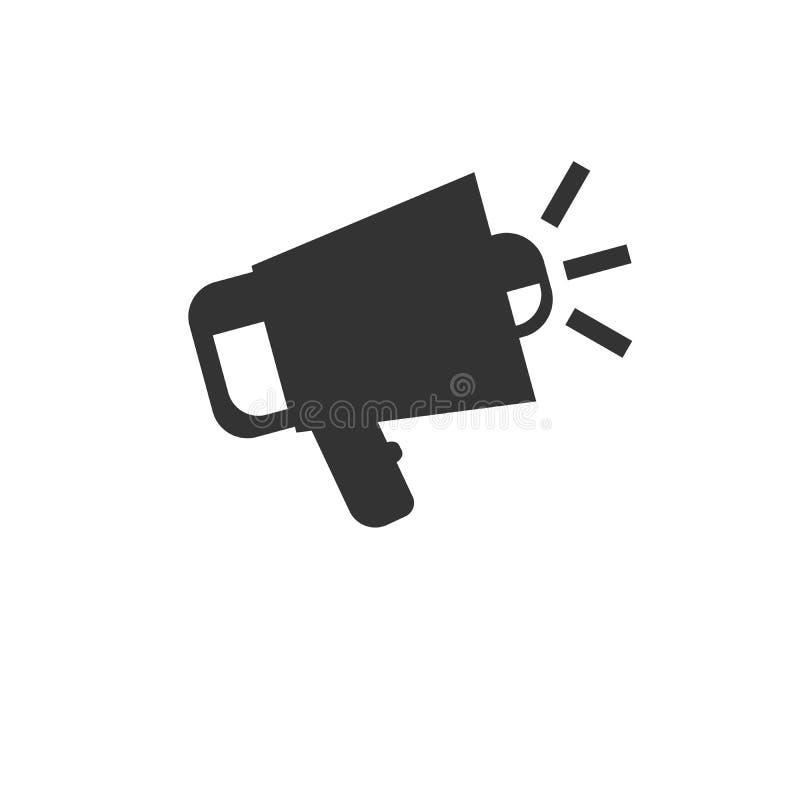 Línea fina aislada ejemplo del símbolo de la muestra del megáfono del icono para la web, vector plano minimalistic moderno del di libre illustration
