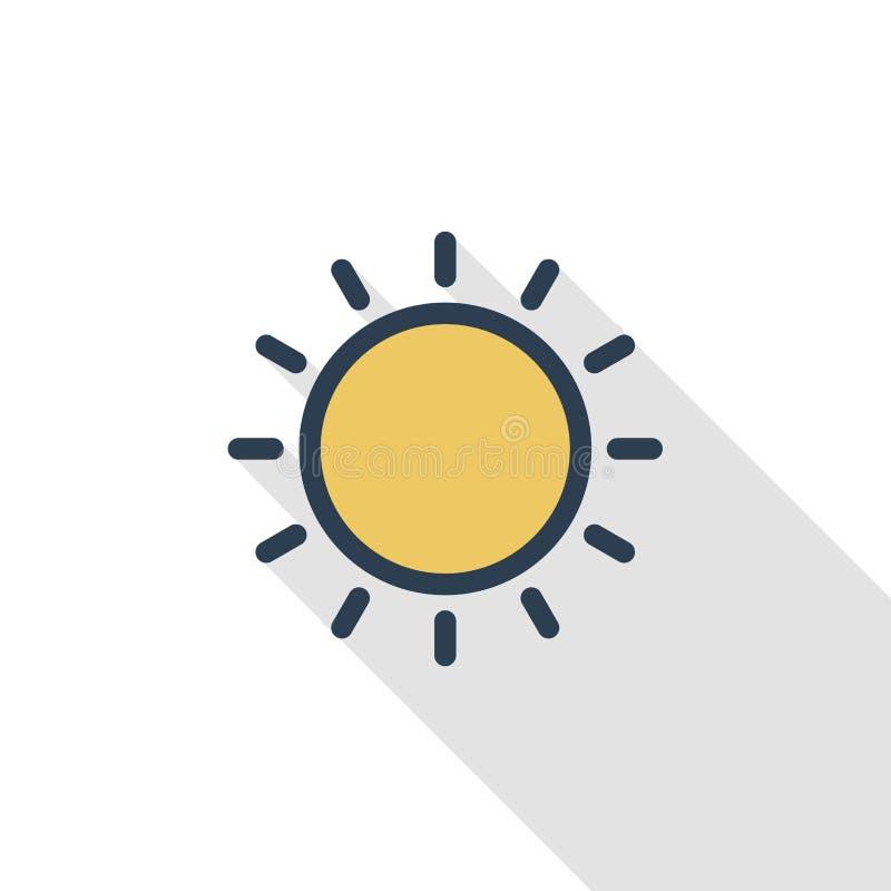 Línea fina amarilla icono plano de Sun del color Símbolo linear del vector Diseño largo colorido de la sombra stock de ilustración