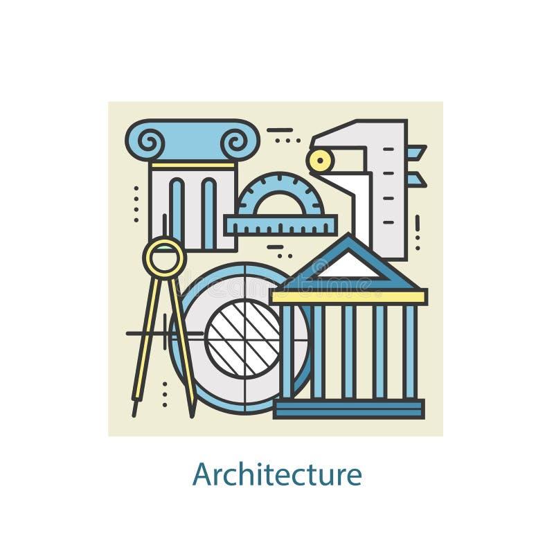Línea Fina Arquitectura Y Construcción Del Color Moderno Del Diseño ...