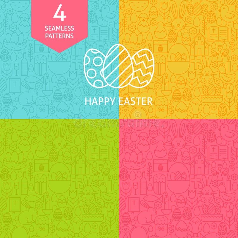 Línea fina Art Happy Easter Pattern Set stock de ilustración