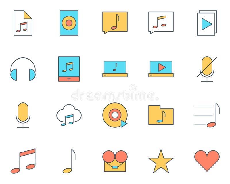 Línea fina audio iconos de la música fijados Pictogramas del vector ilustración del vector