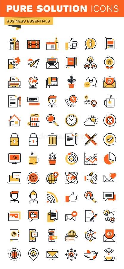 Línea fina básica colección plana de los iconos del web del diseño ilustración del vector