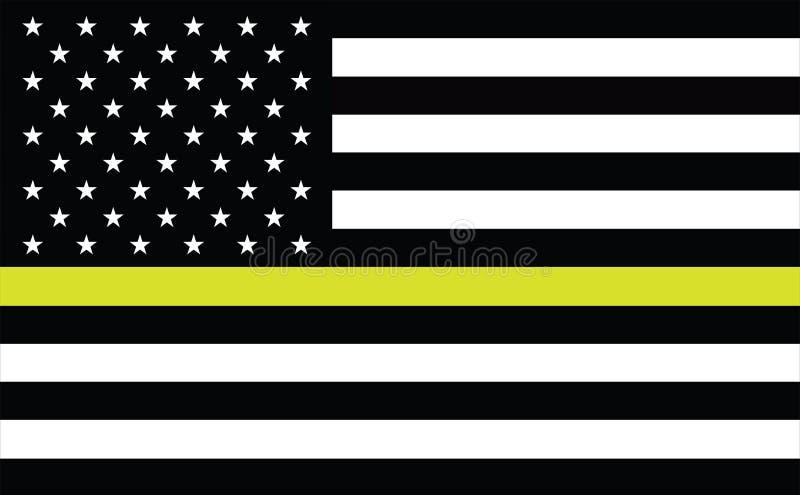 Línea fina bandera americana del oro Bandera que representa 911 y otros primeros despachadores de las comunicaciones del responde ilustración del vector