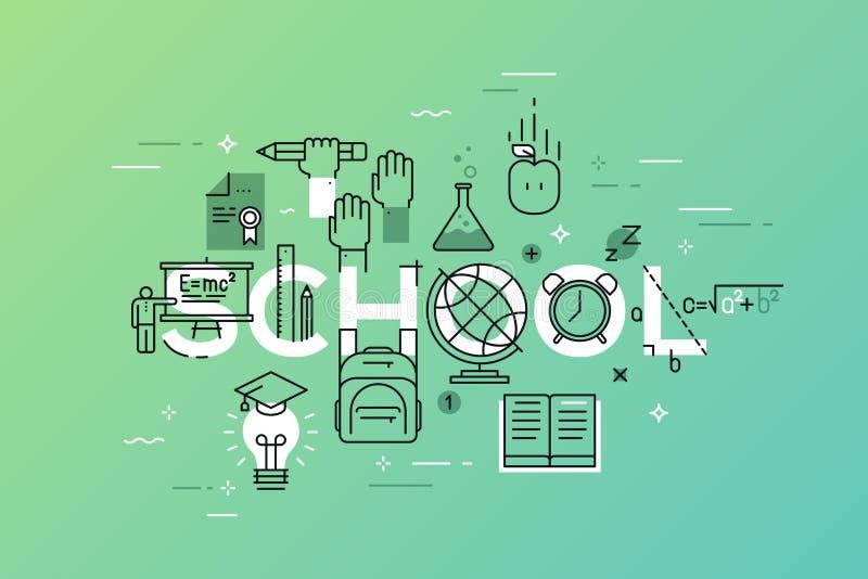 Línea fina bandera plana del diseño de aprender la página web ilustración del vector
