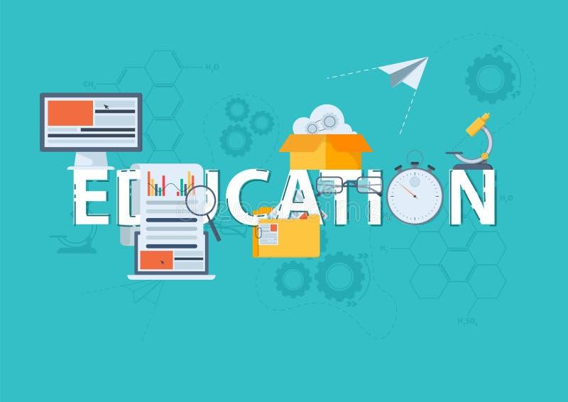 Línea fina bandera plana del diseño para la educación de la página web de la educación, clásica y en línea, conocimiento cada vez ilustración del vector
