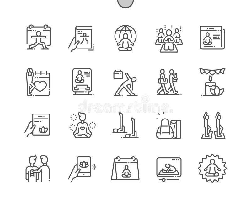 Línea fina Bien-hecha a mano día internacional rejilla 2x de los iconos 30 del vector perfecto del pixel de la yoga para los gráf ilustración del vector