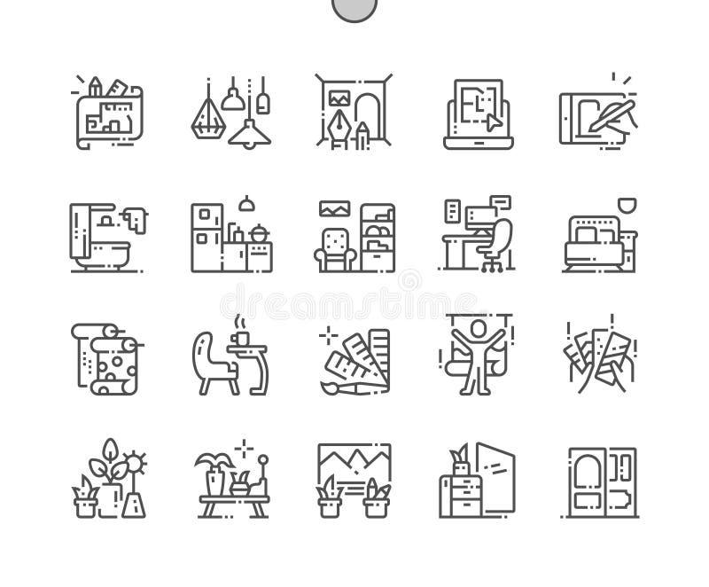 Línea fina Bien-hecha a mano rejilla 2x de los iconos 30 del vector perfecto del pixel del diseño interior para los gráficos y lo ilustración del vector