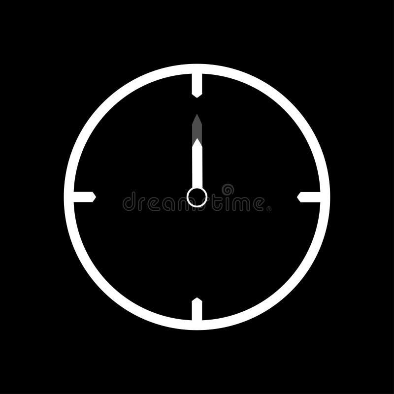 Línea fina blanca icono del reloj las 12 - ejemplo del vector ilustración del vector