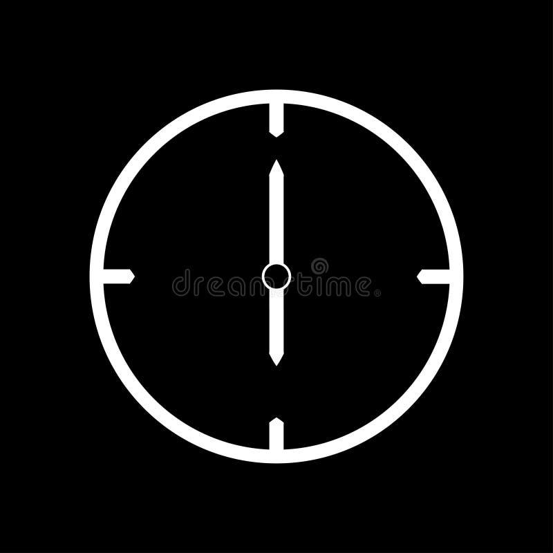 Línea fina blanca icono del reloj las 6 - ejemplo del vector libre illustration