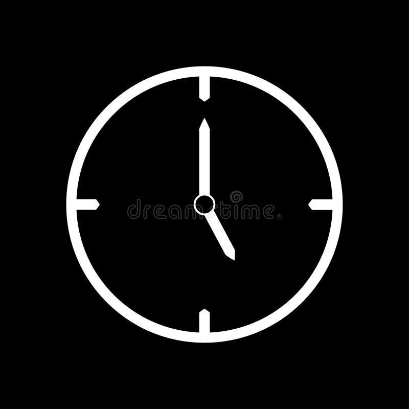 Línea fina blanca icono del reloj las 5 - ejemplo del vector libre illustration