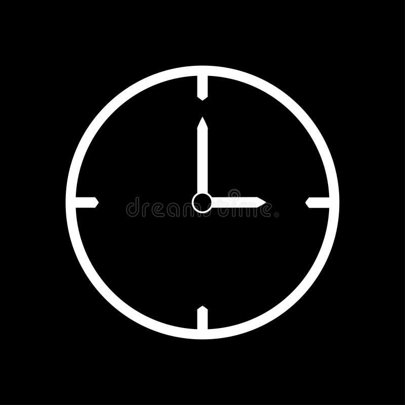 Línea fina blanca icono del reloj las 3 - ejemplo del vector ilustración del vector
