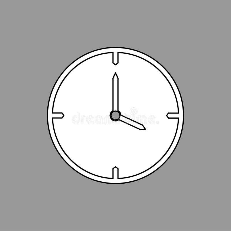Línea fina blanco y negro icono del reloj las 4 en el fondo gris - ejemplo del vector libre illustration