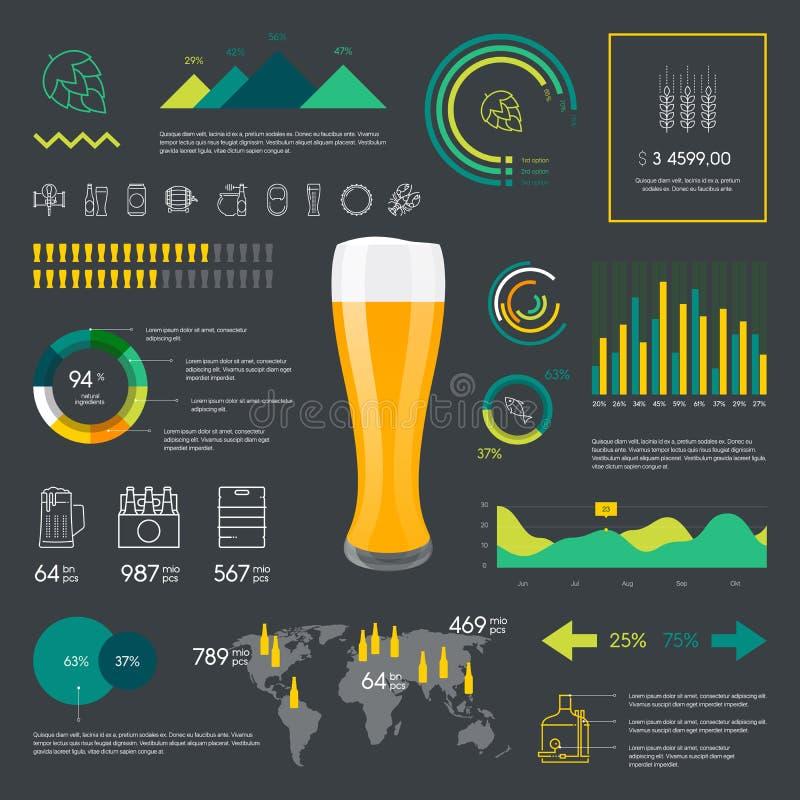 Línea fina cerveza del color infographic stock de ilustración