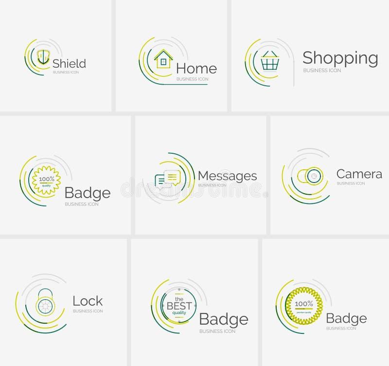 Línea fina colección aseada del logotipo del diseño stock de ilustración