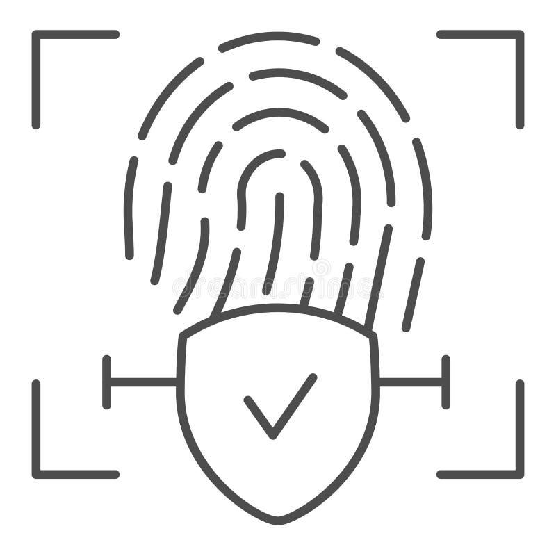 Línea fina comprobada icono de la huella dactilar La identificación del finger aprobó el ejemplo del vector aislado en blanco Com ilustración del vector