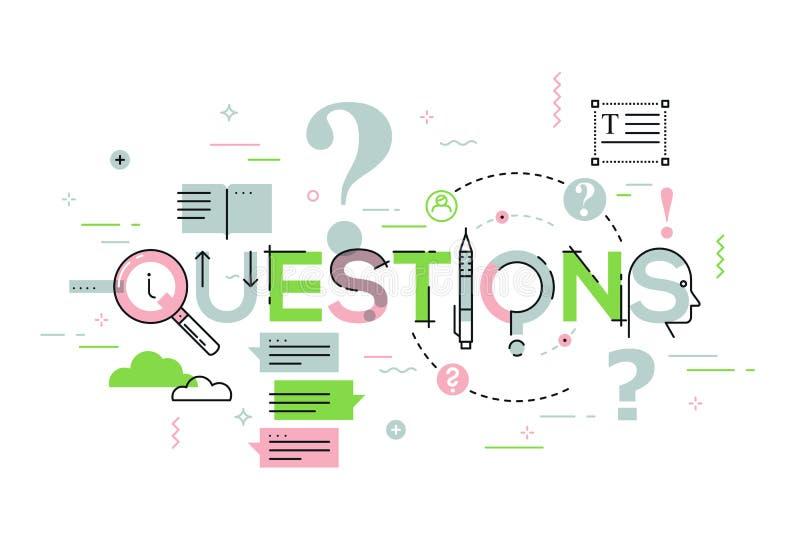 Línea fina concepto de diseño para la bandera del sitio web de las preguntas ilustración del vector