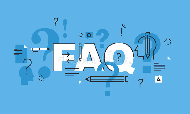 Línea fina concepto de diseño para la bandera del sitio web del FAQ libre illustration