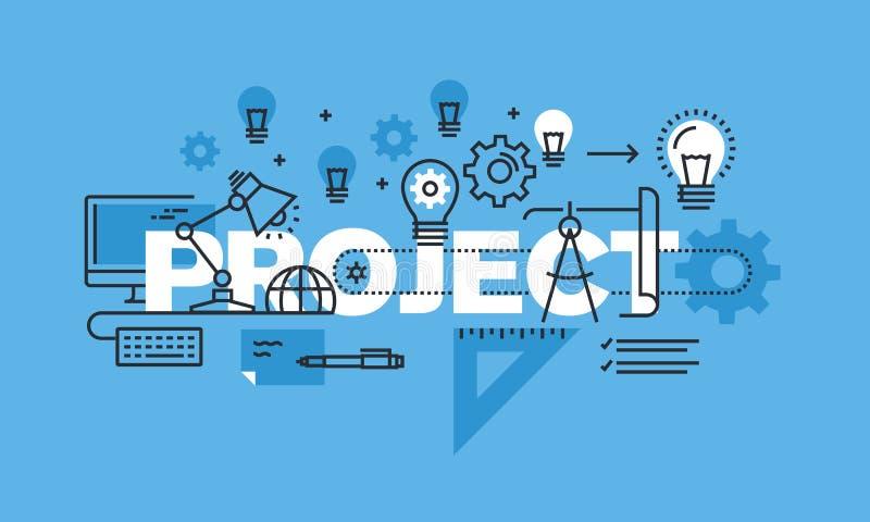 Línea fina concepto de diseño para la bandera del sitio web del proyecto ilustración del vector
