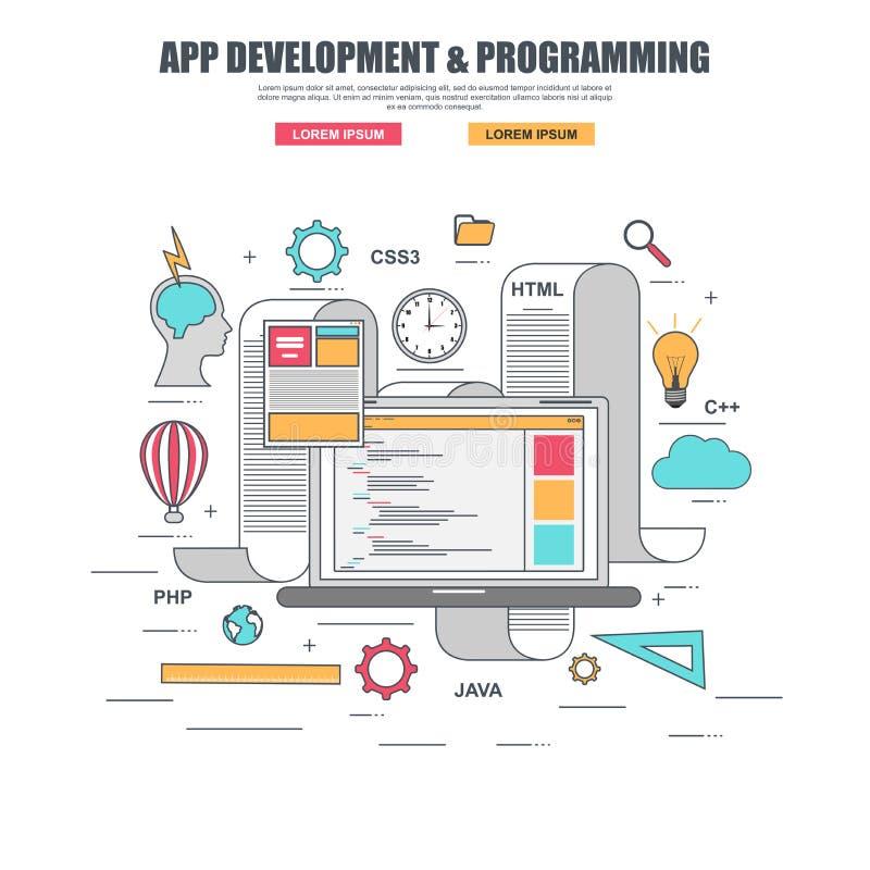 Línea fina concepto de diseño plano para el desarrollo y crear del app código programado del sitio web libre illustration