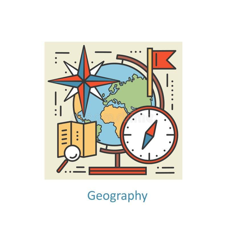 Línea fina concepto del color moderno de geografía para la escuela, la universidad y el entrenamiento libre illustration