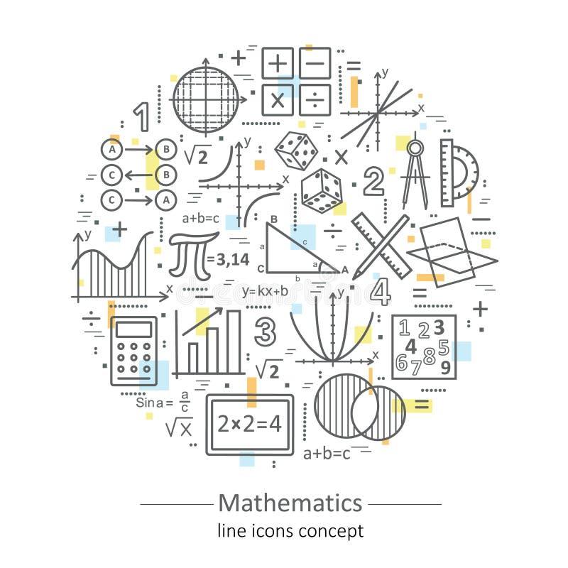 Línea fina concepto del color moderno de matemáticas libre illustration