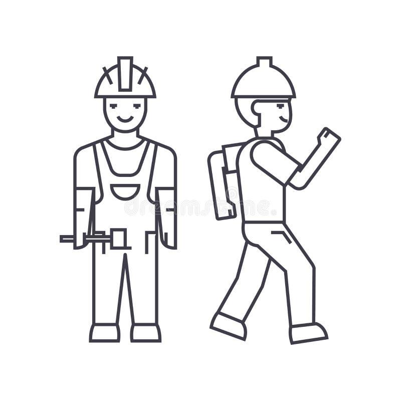 Línea fina concepto del hombre del constructor del icono Muestra linear del vector del hombre del constructor, símbolo, ejemplo libre illustration
