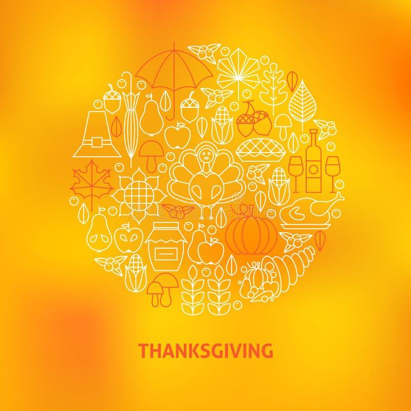 Línea fina concepto fijado iconos del círculo del día de fiesta de la cena de la acción de gracias libre illustration