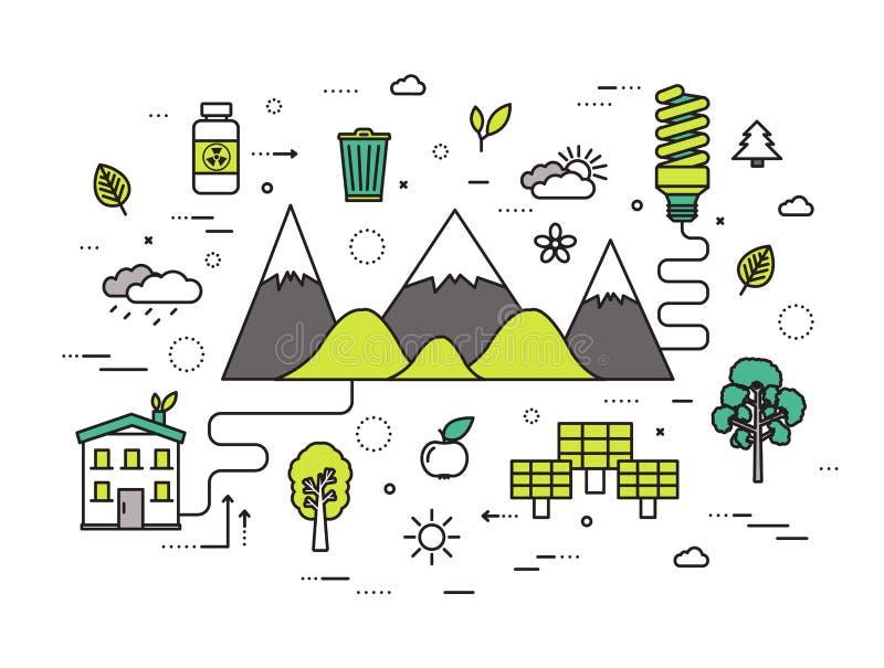 Línea fina concepto moderno del ejemplo de los recursos naturales Manera de Infographic de la ecología a la energía limpia Iconos stock de ilustración