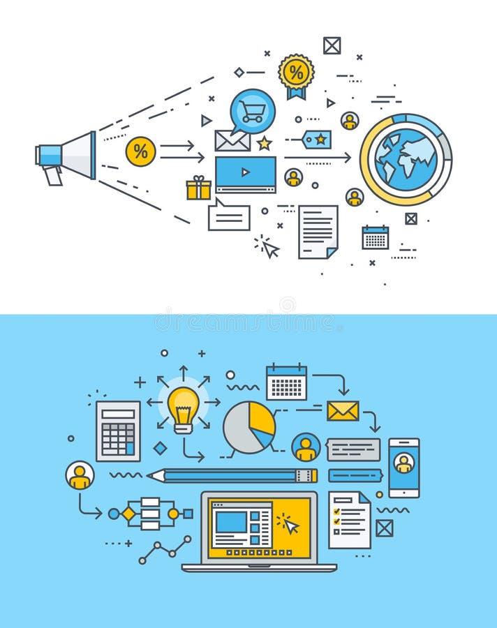 Línea fina conceptos de diseño planos para el márketing de Internet y el desarrollo del sitio web ilustración del vector
