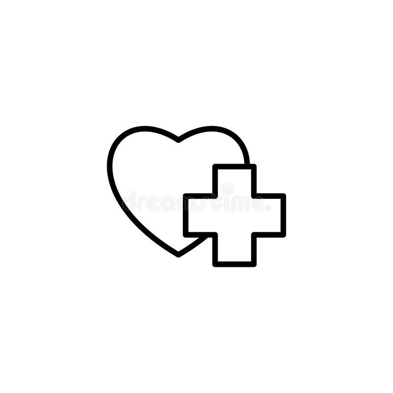 Línea fina corazón con el icono médico de la muestra ilustración del vector