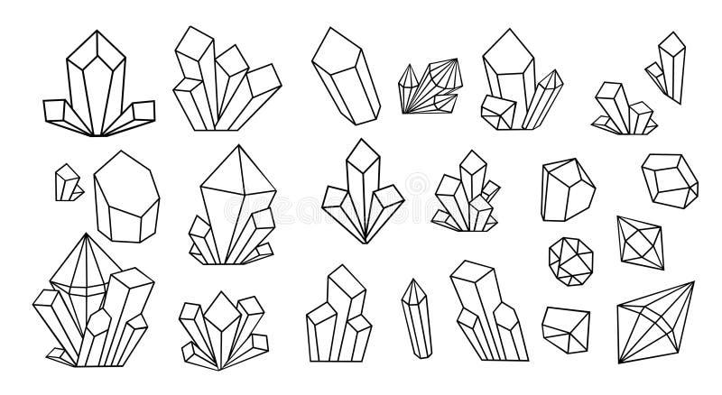 Línea fina cristalina sistema grande de los iconos Equipo de la muestra del esquema de la piedra preciosa libre illustration