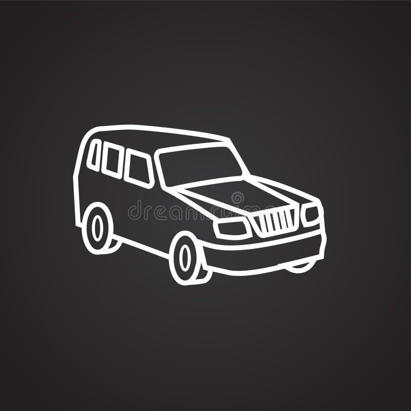 Línea fina del coche familiar en fondo negro stock de ilustración