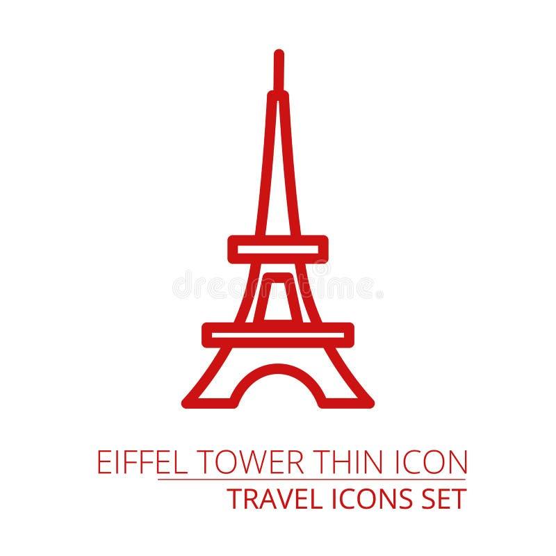 Línea fina del icono de la torre de París para el web y el móvil, diseño plano minimalistic moderno Icono gris oscuro del vector  ilustración del vector