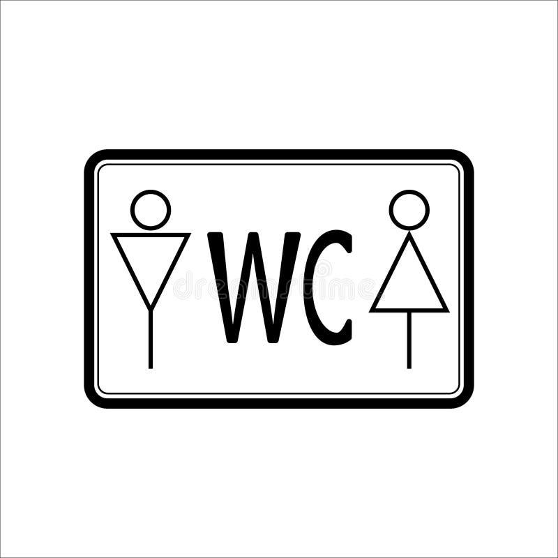 Línea fina del negro del icono de WCtoilet en la muestra blanca del fondo, del hombre y de la mujer libre illustration