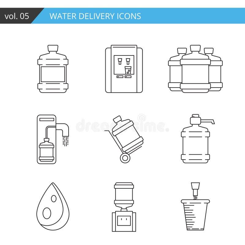 Línea fina determinada icono de la entrega del agua en el fondo blanco, ilustración del vector