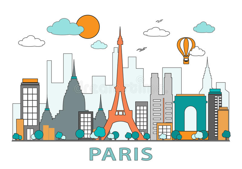 Línea fina diseño plano de la ciudad de París El horizonte moderno de París con las señales vector el ejemplo, aislado libre illustration