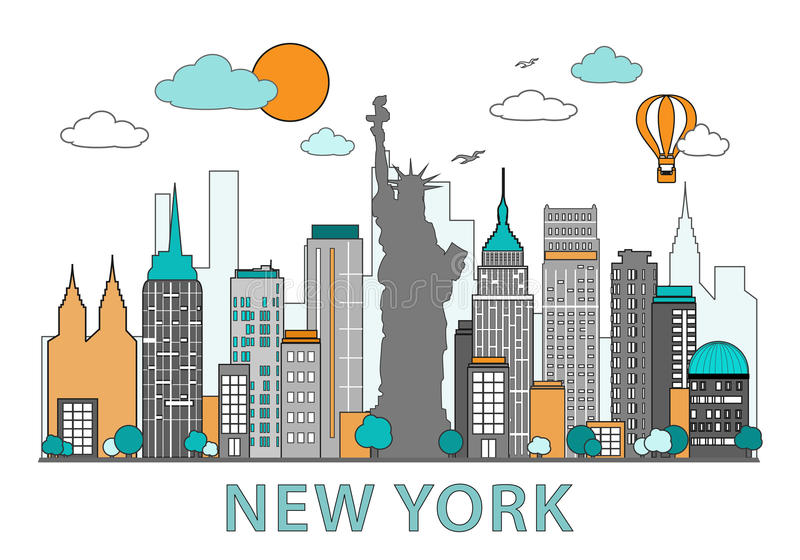 Línea fina diseño plano de New York City Horizonte moderno de Nueva York con el ejemplo del vector de las señales libre illustration