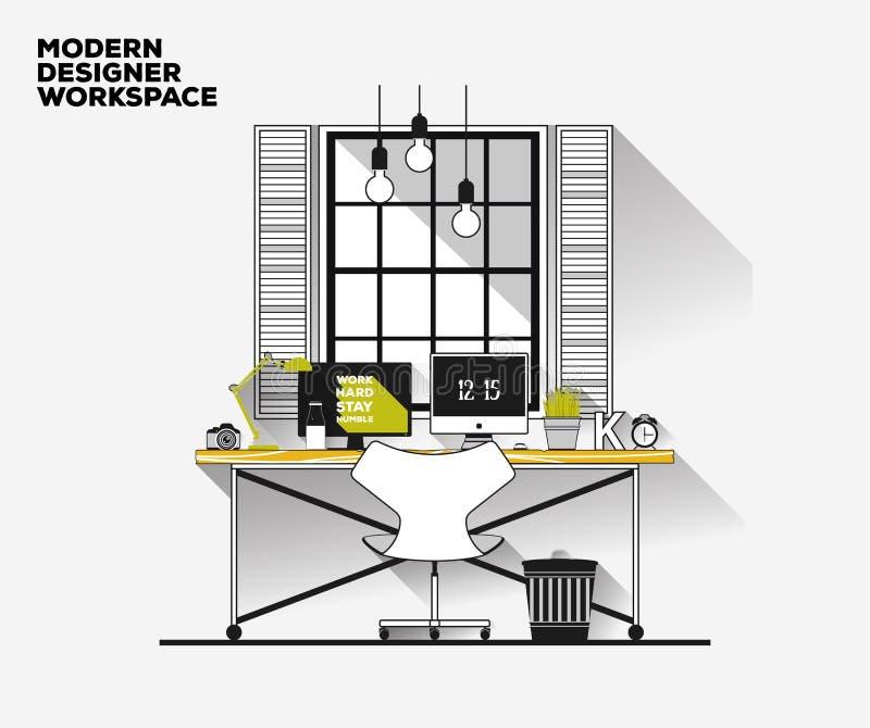 Línea fina diseño plano Lugar de trabajo moderno del diseñador ilustración del vector