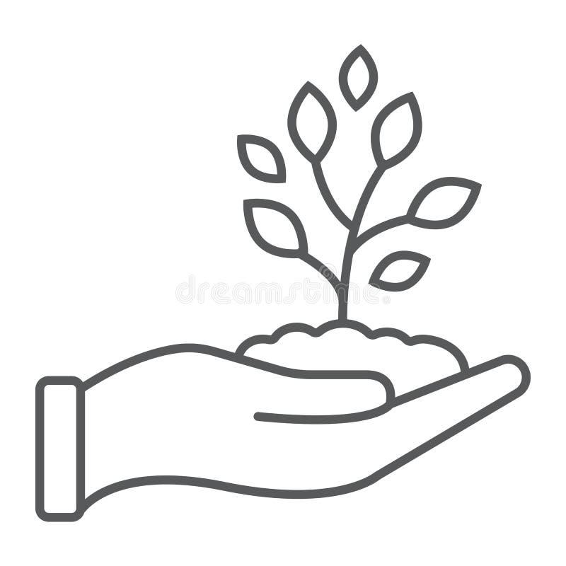 Línea fina disponible icono del brote, cultivando libre illustration