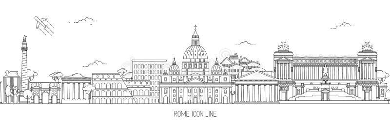 Línea fina ejemplo de Roma del vector del horizonte ilustración del vector