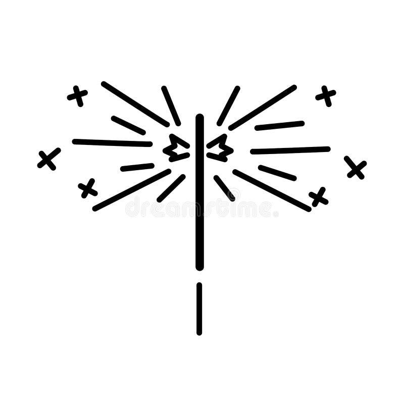 Línea fina ejemplo del fuego de Bengala del vector Partido, elemento del dise?o de la muestra de la tienda de regalos ilustración del vector
