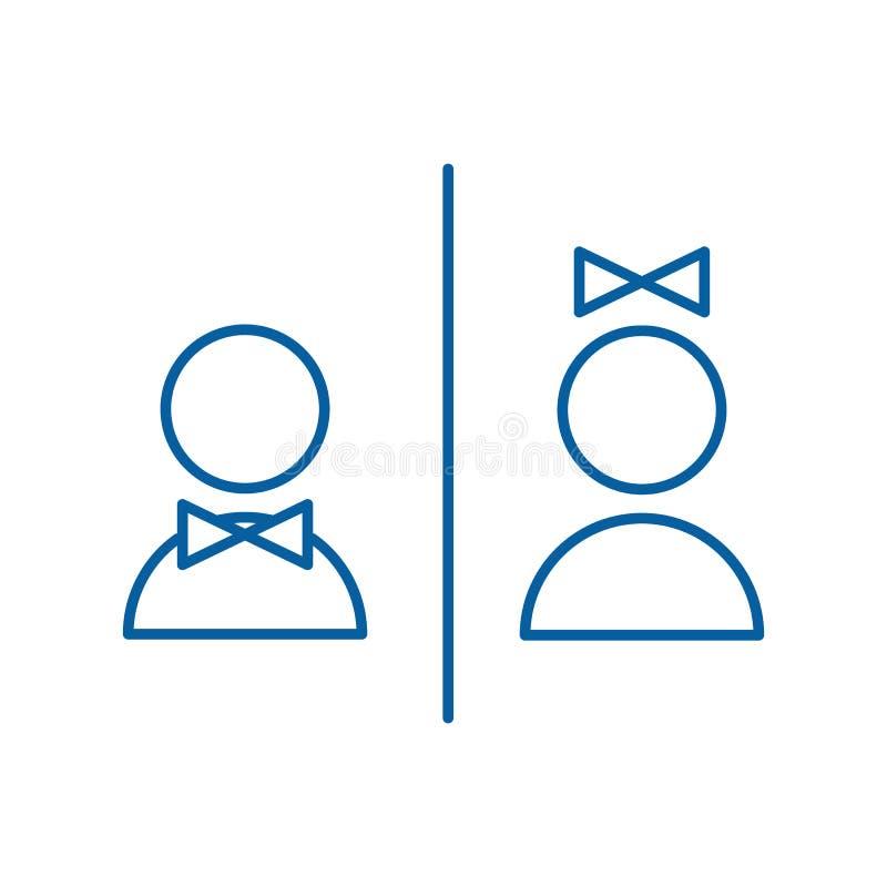 Línea fina ejemplo del vector del icono Etiquetas de la placa de la puerta del WC con formas del hombre y de la mujer con el lazo libre illustration