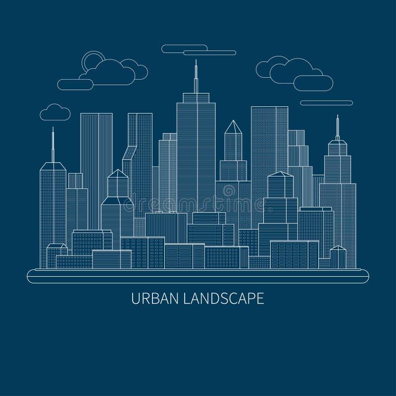 Línea fina ejemplo grande del concepto del paisaje de la ciudad Fondo plano del vector del extracto del diseño stock de ilustración