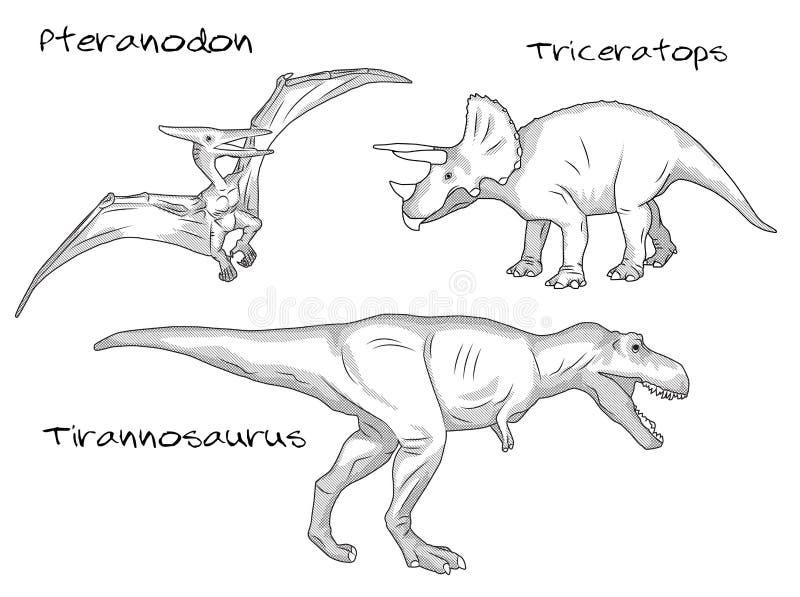 Línea fina ejemplos del estilo del grabado, diversas clases de dinosaurios prehistóricos, incluye el pteranodon, tiranosaurio t libre illustration